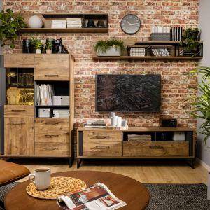 Surowy charakter mebli do salonu Luton podkreśla chłodna kolorystyka dębu ribbeck brąz, która zdobi zewnętrzną część mebla oraz grafitowa listwa. Fot. Black Red White