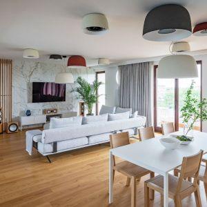 Jasne ściany i jasna, drewniana podłoga w salonie. Projekt i zdjęcia: Jacek Tryc