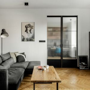 Białe ściany i drewniana podłoga w salonie. Projekt: Fuga Architektura. Fot. Aleksandra Dermont
