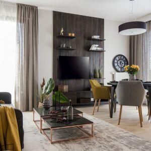Wykończenie ściany świetnie pasuje do wybranej podłogi w salonie. Projekt i zdjęcia: Pracownia KODO