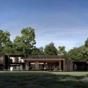 Od strony ogrodu dom na dużo przeszkleń, w tym okazały taras oraz otaczające go liczne sadzawki. Projekt: Marcin Tomaszewski, REFORM Architekt