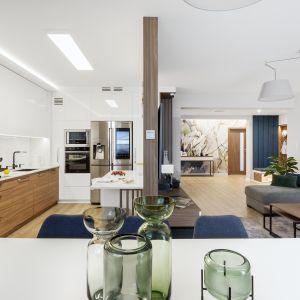 Salon od kuchni oddziela niepełna ścianka. Projekt: Justyna Mojżyk, poliFORMA. Fot. Monika Filipiuk-Obałek