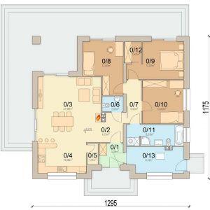 1. Wiatrołap 3.39 m2 2. Hol 4.15 m2 3. Salon 27.98 m2 4. Kuchnia 10.08 m2 5. Spiżarnia 1.51 m2 6. WC 2.09 m2 7. Korytarz 4.32 m2 8. Pokój 12 m2 9. Pokój 12.02 m2 10. Pokój 12 m2 11. Łazienka 8.03 m2 12. Garderoba2.43 m2 13. Pom. gospodarcze 9.49 m2