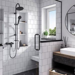 Moda na black w łazience Algeo Black bateria umywalkowa stojąca. Fot. Ferro
