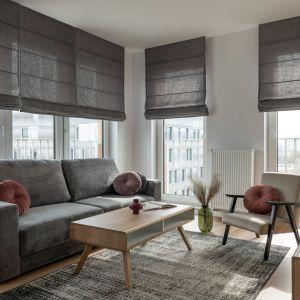 Szara kanapa i lekki, delikatny fotel w salonie. Projekt i zdjęcia: KODO Projekty i Realizacje Wnętrz