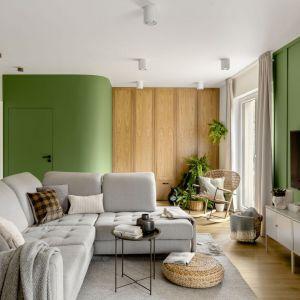 Zielone ściany są pięknym, ale też mocnym elementem w aranżacji salonu. Projekt: Framuga Studio. Fot. Aleksandra Dermont