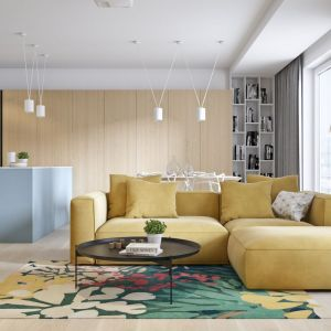 Żółta sofa w jasnym, przytulnym salonie prezentuje się wyjątkowo efektowanie. Projekt i wizualizacje: Mateusz Limanówka, Spacja Studio