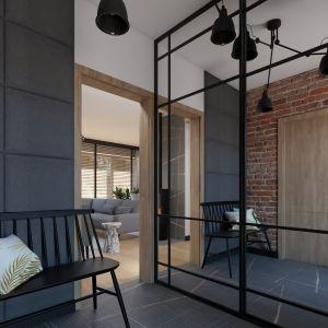 W wiatrołapie drewniana ławeczka zastąpiła tak popularne obecnie tapicerowane siedziska. Projekt i wizualizacja: Donata Gadalska, DG Studio