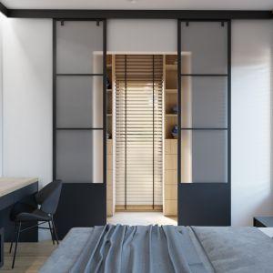 Przy sypialni właścicieli znajduje się łazienka i garderoba. Projekt i wizualizacja: Donata Gadalska, DG Studio