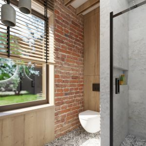 Cegła nadaje łazience wyjątkowego charateru. Projekt i wizualizacja: Donata Gadalska, DG Studio
