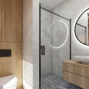 Łazienka z prysznicem w nowoczesnym stylu. Projekt i wizualizacja: Donata Gadalska, DG Studio