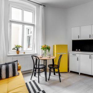 Mała kuchnia połączona z salonem i jadalnią w kawalerce o powierzchni 20 mkw. Projekt: Ewelina Matyjasik-Lewandowska. Fot. Piotr Wujtko