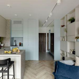 Mała kuchnia z półwyspem w mieszkaniu o powierzchni 27 mkw. Projekt: Aleksandra Grzonka, pracownia Cechownia. Fot. Aleksandra Dermont
