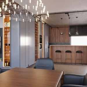 При отделке кухонной части использовалось много материалов: потолок бетонный, на стене - деревянные ламели и керамическая плитка, а на полу - микроцемент серо-бежевого оттенка - серо-коричневый.  Шкафы и высокие здания (дерево, стекло, МДФ, окрашенный в серый цвет) также изготавливаются из различных материалов.  Это надежный способ разнообразить простой дизайн интерьера.