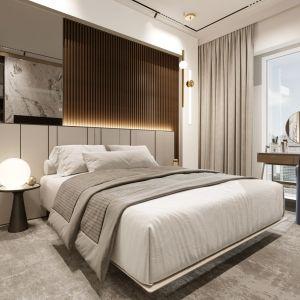 W strefie sypialni architektka zaproponowała miękką i przytulną wykładzinę, która kontrastuje z efektownym parkietem. Projekt i wizualizacje: Soul Interiors
