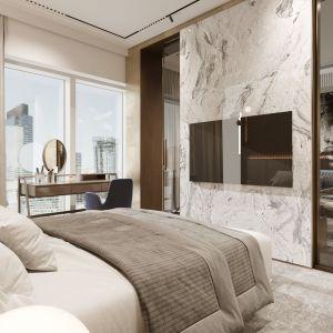 Sypialnia połączona jest z salonem za sprawą przesuwnych drzwi. Projekt i wizualizacje: pracownia Soul Interiors