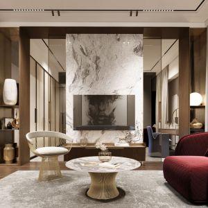 We wnętrzu znajdziemy najwyższej jakości luksusowe meble Moroso, Knoll, Gallotti & Radice, a także dekoracyjne oświetlenie marek Flos i Lee Broom. Projekt i wizualizacje: pracownia Soul Interiors