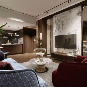 Salon połączony jest z aneksem kuchennym. Projekt i wizualizacje: pracownia Soul Interiors