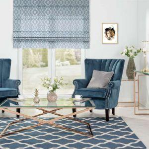 Dywan Cottage blue/ wool z modnym, geometrycznym wzorem. Do kupienia w sklepie Dekoria.pl. Cena: 309 zł (160x230 cm). Fot. Dekoria