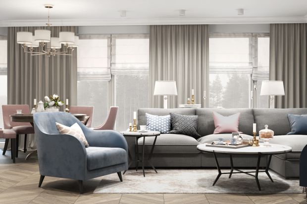 Mieszkanie utrzymane w pastelowych barwach, zaprojektowane z dbałością o detale i udekorowane motywem przeskalowanych kwiatów to wariacja na temat stylu modern classic.