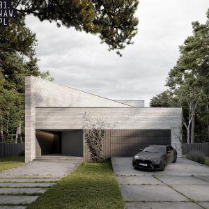 W części frontowej domu znajduje się garaż na dwa samochody wraz z głównym wejściem po lewej stronie. Projekt: pracownia architektoniczna 81.WAW.PL. Wizualizacje: Michał Nowak