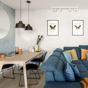 Szaroniebieska ściana w salonie. Projekt: Framuga Studio. Zdjęcia Aleksandra Dermont