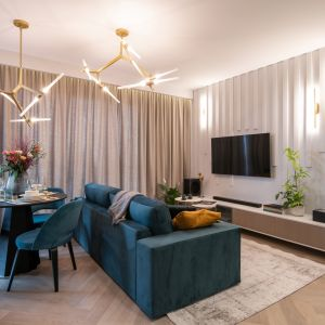 Ściana za telewizorem w salonie wykończona jest pionowymi panelami. Projekt i zdjęcia: KODO Projekty i Realizacje Wnętrz
