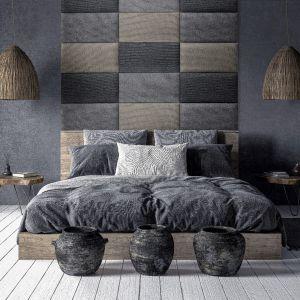 Panele tapicerowane z kolekcji Mollis z ciemnej palety kolorów.  Dostępne w sieci Castorama. Fot. Castorama