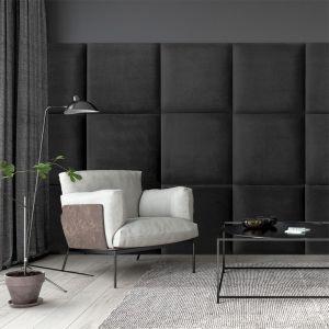 Panele tapicerowane z kolekcji Mollis w czarnym kolorze. Dostępne w sieci Castorama. Fot. Castorama