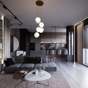 Niewielkie mieszkanie zostało zaprojektowane w nowoczesnym stylu w oparciu o marmur i beton. Projekt i zdjęcia: Anna Ejsmont