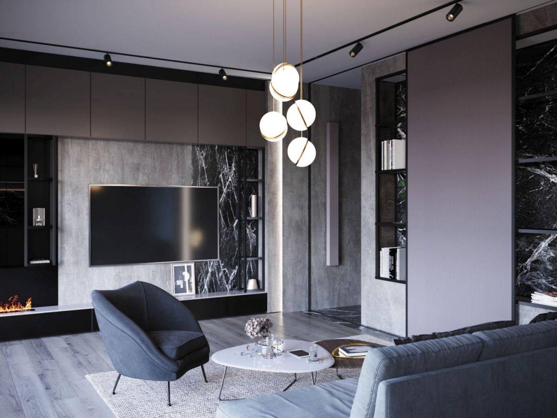Przyciemniane, szklane powierzchnie sprawiają, że przestrzeń nabiera elegancji i charakteru. Projekt i zdjęcia: Anna Ejsmont