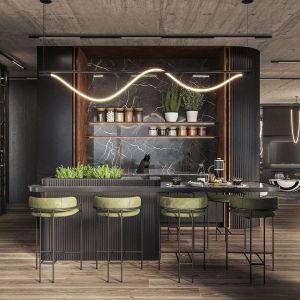 Centralną częścią apartamentu jest kuchnia z wyspą. Autorki projektu: Agnieszka Zaremba, Magdalena Kostrzewa Świątek, Katarzyna Dąbek, TISSU Architecture