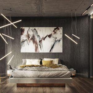 Sypialnia urządzona w ciemnych tonacjach. Autorki projektu: Agnieszka Zaremba, Magdalena Kostrzewa Świątek, Katarzyna Dąbek, TISSU Architecture