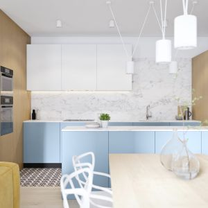 We współczesnych kuchniach pojawia się coraz więcej kolorów. Projekt i wizualizacje: Mateusz Limanówka, Spacja Studio