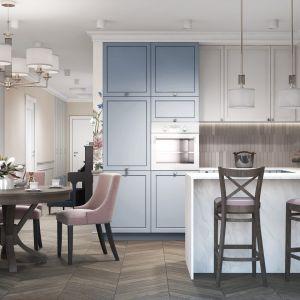 Przytulna, klasyczna kuchnia w pastelowych kolorach. Projekt MIKOŁAJSKAstudio