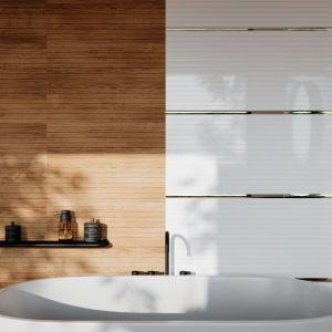 Kolekcja Premium stworzona do łazienek boho - w serii płytki w odcieniu miodowego drewna, śnieżnobiałe, strukturalne kafle i dekory z rysunkiem egzotycznych liści w klimacie urban jungle. Marka: Ceramica Bianca