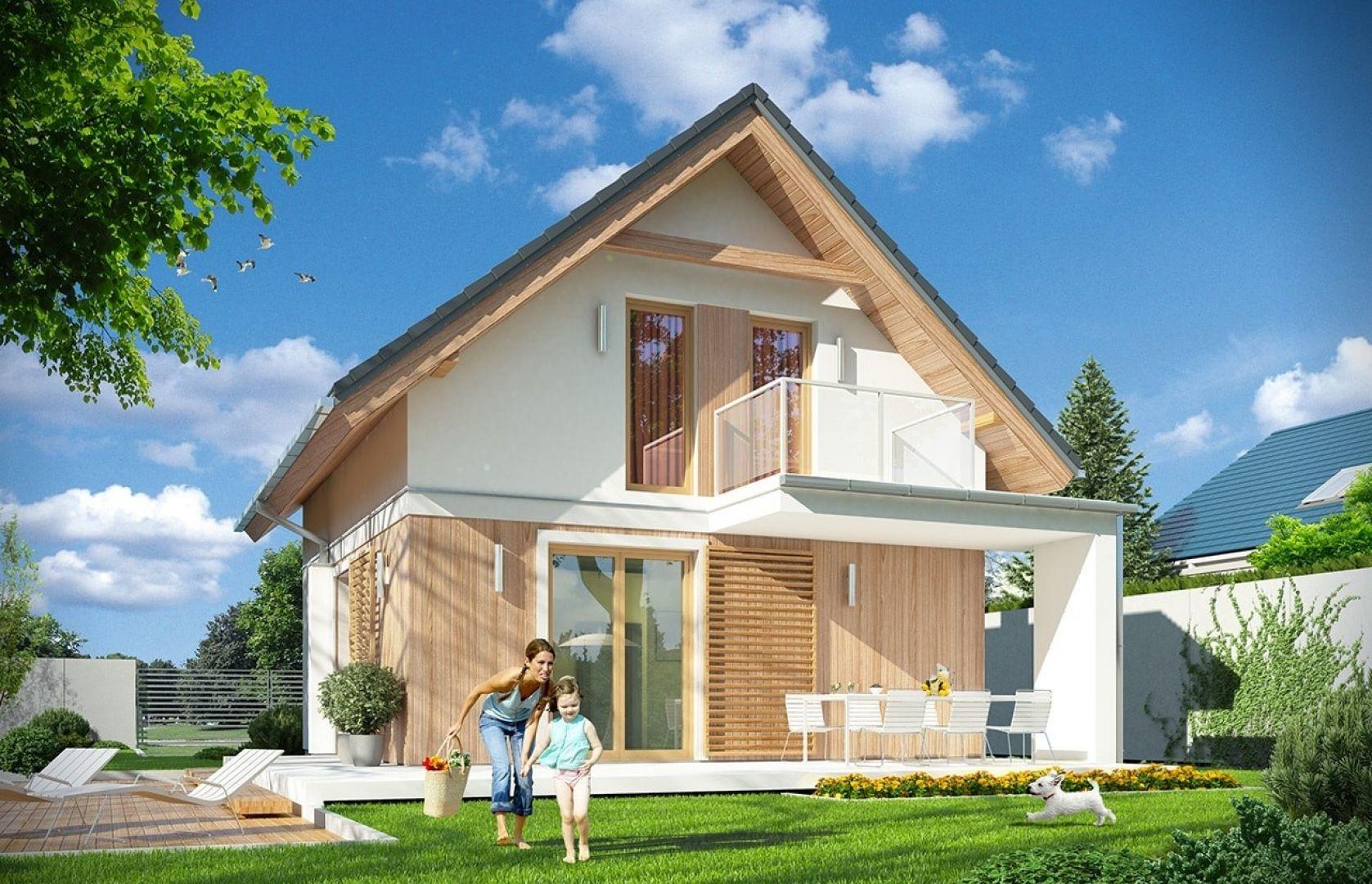 Ma poddasze użytkowe i przykryty jest dwuspadowym dachem. Projekt: arch. Michał Gąsiorowski. Fot. MG Projekt