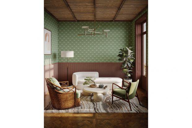 Tapeta to idealny pomysł na wykończenie ścian w salonie. Wygląda bardzo efektownie! Nada wnętrzu przytulności, elegancji i oryginalności. Tapeta będzie prawdziwą dekoracją w salonie.<br /><br />